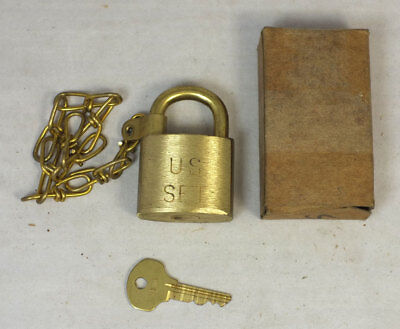 NOS Vintage Waterbury US SET Military Brass Padlock