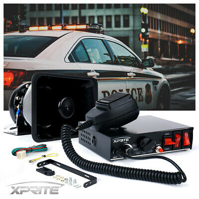 200W Loud Speaker PA Horn Siren System Microphone Kit For Police Car Fire Truck