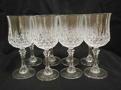 Set Of 8 Cristal D'arques Lead Crystal Pedestal Water Goblets - Wine Glasses