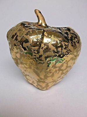 Vintage Wall Pocket Weeping Gold 24kt Gold on Porcelain Apple Wall Pocket USA