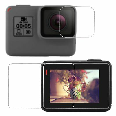 Tempered-Glass LCD Screen Protector & Lens Cover Cap for GoPro Hero 6, 5