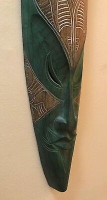 """Tall Tribal Green Mask - Hand Carved Wood - 39.5"""" Long - Indonesia / Oceana"""