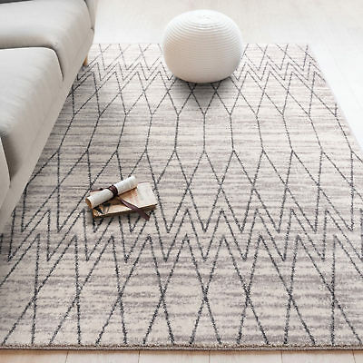 Extra Large Floor Rug Off White Charcoal Geometic Diamond Trellis Modern Carpet