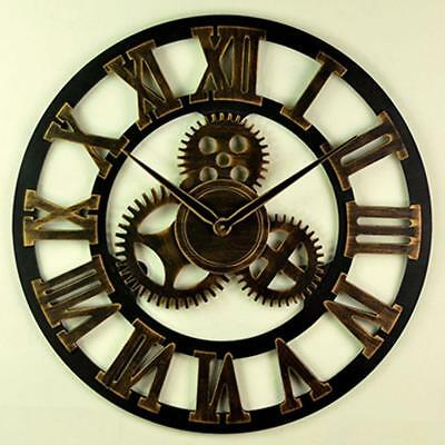 PRO Roman Numeral Wall Clock Indoor Outdoor Garden Retro Vintage Decor Cl ffvv