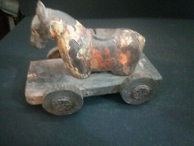 Antique Primitive Wood Horse Toy Rare Beauty Intricate Work & Wagging Tail