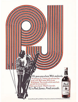 Original Print Ad-1969 P.J. is Paul Jones. And Smooth-B&W Sketch Couple Skiing