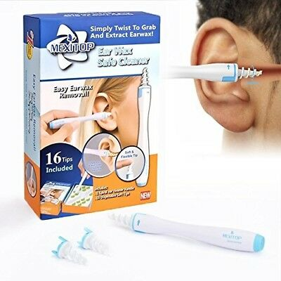 Ear Cleaner MEXITOP Remove Ear Wax With Upgraded 16 Disposable Silicone Heads +