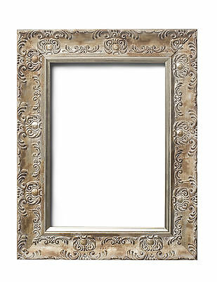 WIDE Ornate Shabby Chic Antique swept Picture photo frame DISTRESSED WHITE/MUSE