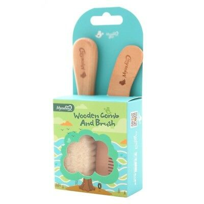 Natural Eco Wooden Soft Goat Hair Baby Brush and Comb Set Baby Shower Gift