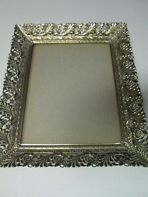 """Vintage ORNATE METAL PICTURE FRAME w/ Stand in Back & Glass holds 8"""" by 10"""""""