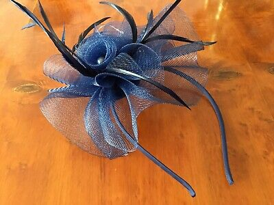 NAVY BLUE Net&Feather.Clip/pin.fascinator/corsage.weddings.races.proms.#32