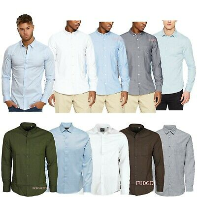 Only & Sons Mens Long Sleeve Slim Fit Stretched Plain Shirt Smart Blue S to 2XL