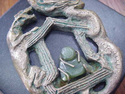 UNIQUE Huge Pendant Solid bronze Jade buddha Mediallion Alter Dog Dragon