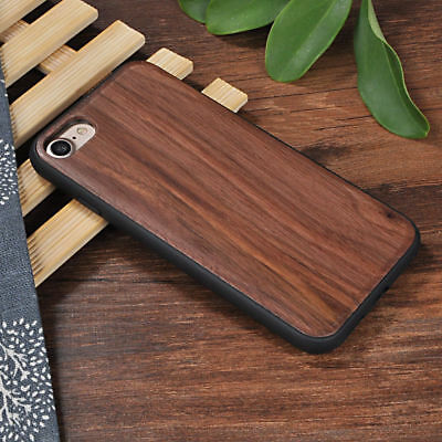 Apple Iphone 6 6s 7 8 plus + cover case hard back real wood wooden oak Walnut