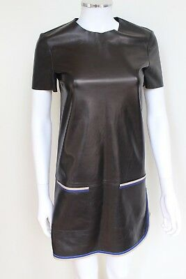 2c2a009eab78 CELINE BLACK LEATHER Shift Dress F 36 UK 8 -  472.58