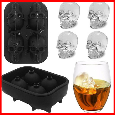 3D Ice Tray Silicone Icemaker chocolate Mold Skull / Round Sphere Whiskey Ball