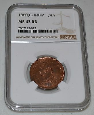 1880(c) British India 1/4 Anna Graded by NGC as MS 63 RB with lots of red luster