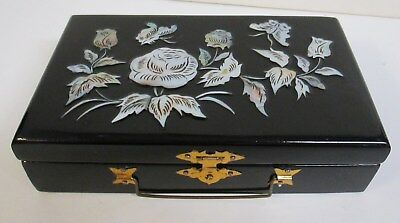 Vtg Black Lacquer Ware Mother of Pearl/Abalone Inlay Asian/Oriental Jewelry Box