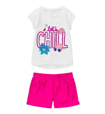 *new* Gymboree Girls Size 5-6 7-8 10-12 Let's Chill Top N Magenta Shorts Outfit