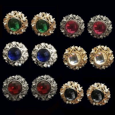 CLIP ON Non-Pierced Sparkly Diamante Crystal Indian Wedding 30mm Round Earrings