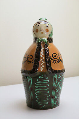 Karcag Hungarian Figural Folk Art Pottery Wine Jug  Woman - Signed