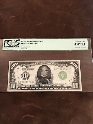 1928 St Louis 1000 Dollar Bill •RARE•  extremely fine 45 PPQ Rickey collection.