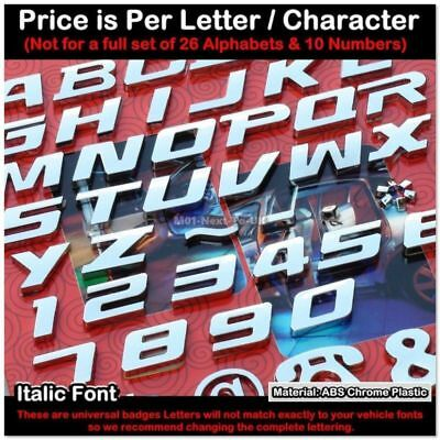 Universal Chrome Letter Alphabets Car Badge Sticker Decal Emblem Trunk Plate 001