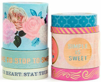 WASHI TAPE TUBE ANTIQUE STREET FLORAL | 7 Rolls Pink Peony Rose Blue Flowers