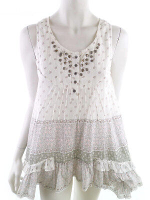 CLAIRE DK size 6 romantic Tunic cotton flowers 100% white