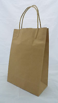 100 Brown Kraft Paper Carry Bags Small Budget 350 H x 260 W x 90 G