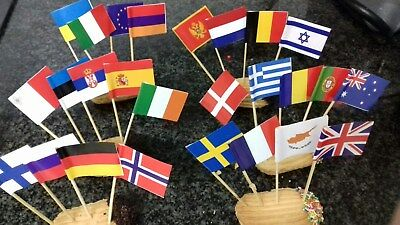 Set with ALL Eurovision Nations Cocktail Party BIG Toothpick Flags 50 or 100 pcs