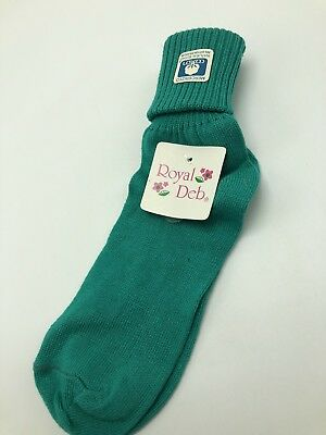 Vintage 1980s Royal Deb Green Cuffed Ankle Socks NWT Mercerized Cotton