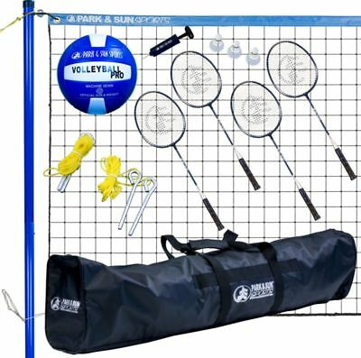Volleyball Net Set Portable Court System Equipment Outdoor and Badminton Combo