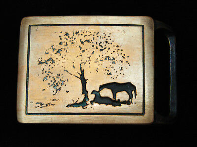Qf07168 Vintage 1975 **two Horses** Tech-Ether Guild Art Solid Brass Belt Buckle