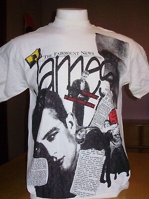 VINTAGE JAMES DEAN MOSQUITOHEAD ALL OVER PRINT NEWSPAPER ARTICLES SHIRT large