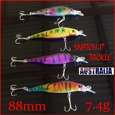 4 Jointed Fishing Lures Minnow Bream Flathead Barra Trout Murray Cod Tackle Lure