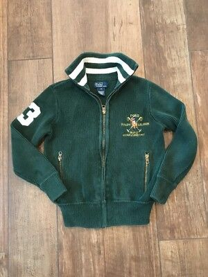 Polo Ralph Lauren Boys Solid Green BIG PONY Zippered Sweater Cardigan SZ S