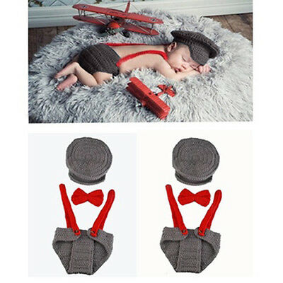 FX- Newborn Baby Girl Boy Knit Hat + Bow Tie + Overall Photography Prop Suit Del