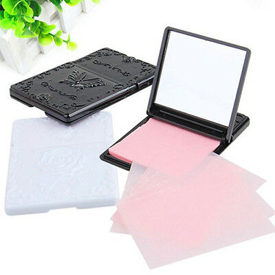 FX- 50Sheets Women's Face Oil Absorbing Paper Mirror Case Makeup Beauty Tool Wit