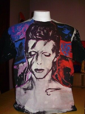 Rare Vintage David Bowie Mosquitohead All Over Print Tie Dye Shirt Amazing Xl