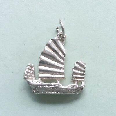 Chinese JUNK BOAT  ship Asia  - solid 925 sterling silver travel charm pendant