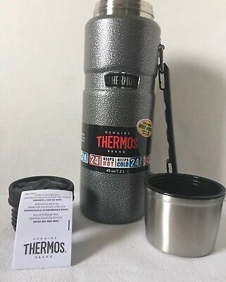 Thermos King Stainless 40 Oz Vaccum-Insulated Food Beverage Bottle Tumbler Gray