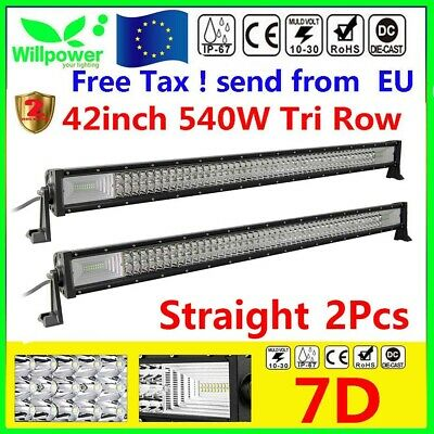 "2X 7D Tri-Row 42""inch 540W LED Light Bar Spot Flood Combo Jeep Ford SUV Offroad"