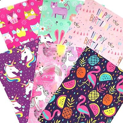 Set of 3 Girl wrapping paper 495x700 mm folded general birthday Gift present new