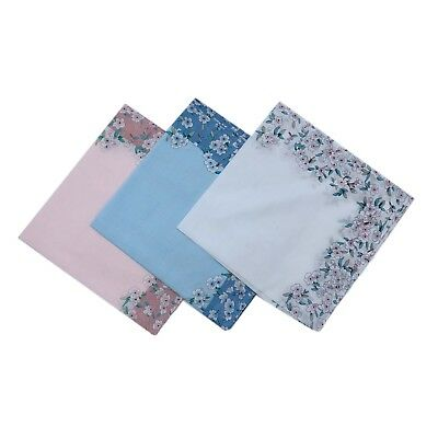 Lady's 100% Pure Cotton Handkerchiefs With Flower Elegant Gift 45CM X 45CM White