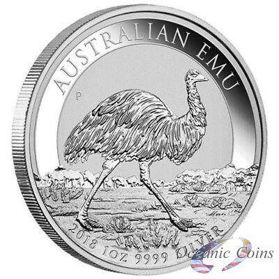 2018 Australian Emu 1 oz 9999 Silver Coin Perth Mint Capsule Mintage 30,000 ONLY