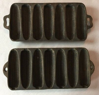 Two Vintage Heavy Cast Iron 7 Ear of Corn- Corn Bread Muffin Pan Skillet Mold