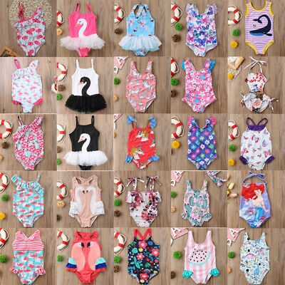 UK One-piece Toddler Kids Baby Girl Swimwear Swimsuit Swimming Beach Clothes