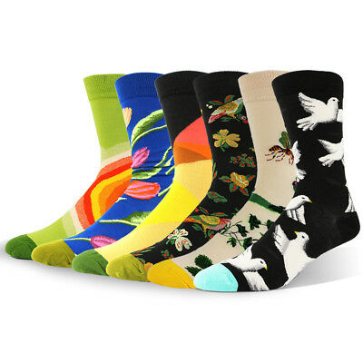 cd77870656f0 NEW Mens combed Cotton Socks Dove Bees Flower Trendy Colorful Casual Dress  Socks