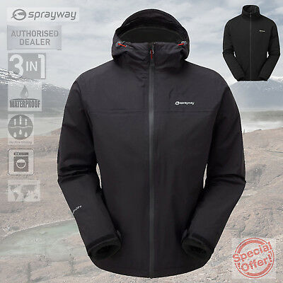 Sprayway Mens Pylos 3 in 1 TriClimate Waterproof Jacket - Black - New - RRP £130